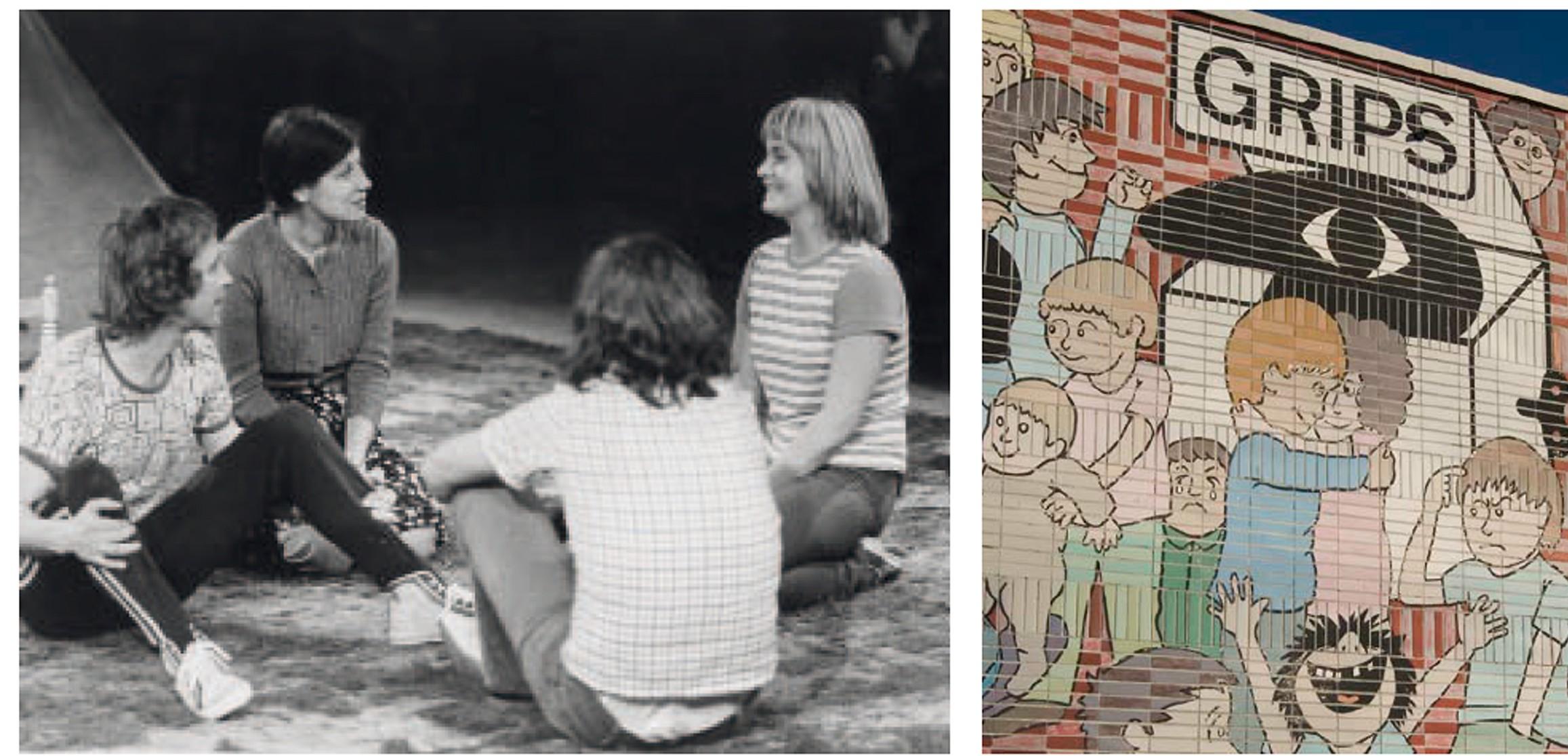 """Theater, das Konventionen infrage stellt: Szene aus """"Ein Fest bei Papadakis"""" (li.) und die Fassade vom Grips am Hansaplatz – Fotos: Frank Roland-Beeneken/ Grips-Archiv, Jan Schenck"""