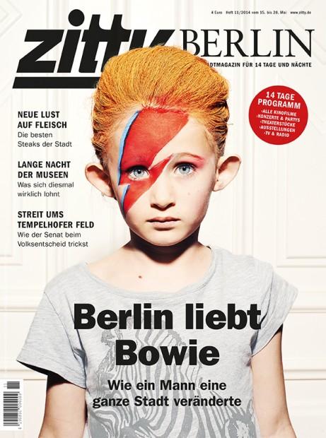 Mythos Bowie Als im Mai 2014 die große Bowie- Ausstellung im Martin-Gropius-Bau stattfand, widmete sich die ZITTY dem Mythos mit einer Titelgeschichte. Das Cover zeigte die Tochter eines Kollegen mit geschminkten Bowie-Blitz. Eine Trauerfeier für den Rock-Heroen findet am 15. Januar ab 12 Uhr im Meistersaal am Potsdamer Platz statt (ehemaliges Hansa Studio 2).