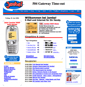 Jamba-Website 2001Foto: waybackmachine.org