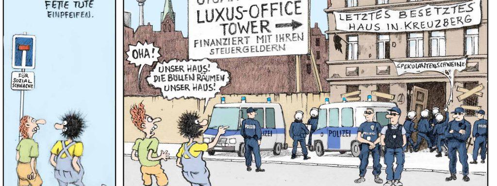 Die Zeiten ändern sich: Zwille und sein Kumpel McÖko erleben im durchgentrifizierten Kreuzberg eine böse ÜberraschungComic: Seyfried/Westend Verlag