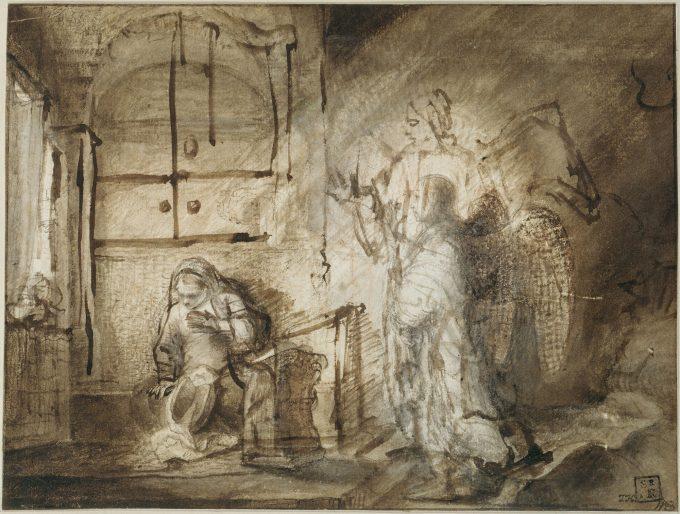 Constantijn Daniel van Renesse & Rembrandt: Die Verkündigung an Maria 2 um 1652 © Jörg P. Anders / Staatliche Museen zu Berlin, Kupferstichkabinett