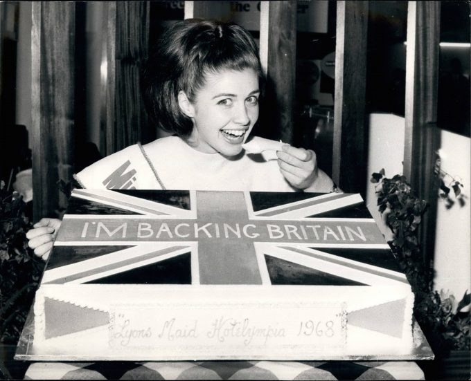 Jan. 01, 1968 - HOTELYMPIA 68. HOTELYMPIA 68 - The International Hotel and Catering Exhibition, opened KEYSTONE PHOTO SHOWS:- Pretty MISS ANITA SHANNELLE, last year s Miss Bournemouth - is seen sampling a huge ice-cream cake which bears a Union Jack, and an I m Backing Britain motif, on the Lyons Maid stand at the exhibition today. PUBLICATIONxINxGERxONLY - ZUMAk09  Jan 01 1968  68  68 The International Hotel and Catering Exhibition opened Keystone Photo Shows Pretty Miss Anita  Load Year S Miss Bournemouth IS Lakes Sampling a Huge ICE Cream Cake Which Bears a Union Jack and to I M backing Britain Motif ON The Lyons Maid stand AT The Exhibition Today PUBLICATIONxINxGERxONLY ZUMAk09