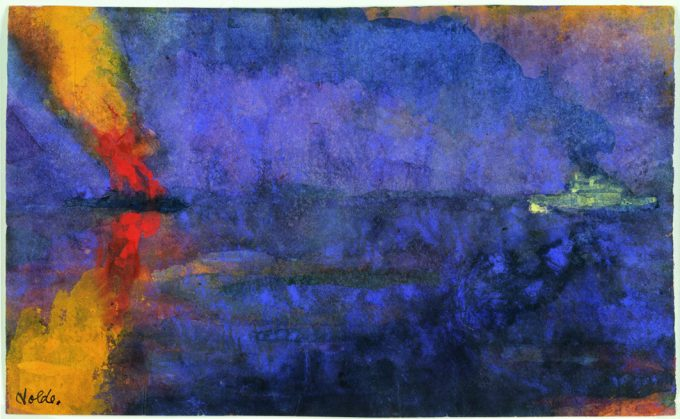 Emil Nolde, Kriegsschiff und brennender Dampfer, o. D. (vor/um 1943), Aquarell, 14,8 × 24,4 cm, Nolde Stiftung Seebüll, © Nolde Stiftung Seebüll, Foto: Dirk Dunkelberg, Berlin