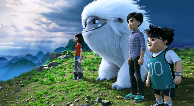 (from left) – Yi (Chloe Bennet), Everest, Jin (Tenzing Norgay Trainor) and Peng (Albert Tsai) in DreamWorks Animation and Pearl Studio's Abominable, written and directed by Jill Culton.