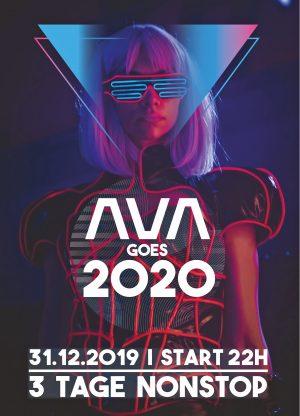 Flyer für die Silvesterparty im AVA Club