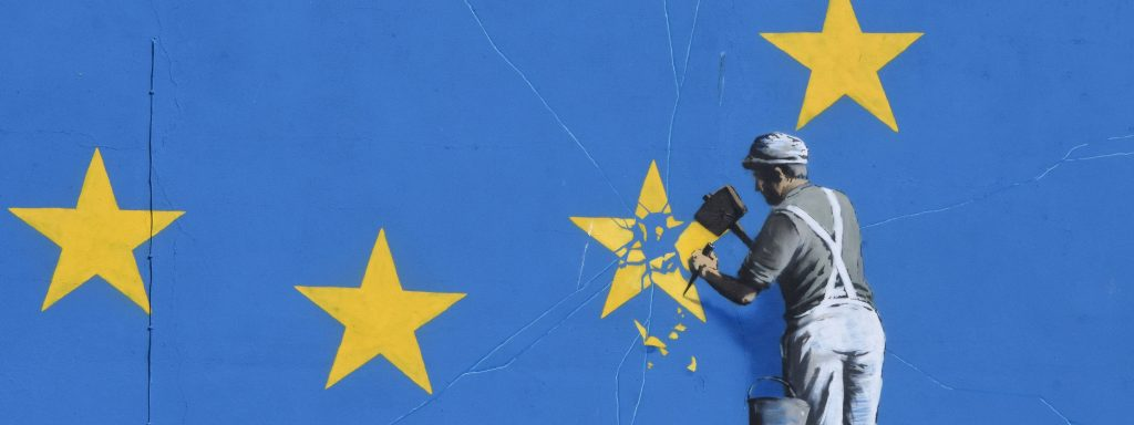 October 2017, Dover UK Art work of Banksy in Dover depicting worker chisling away one of the stars of the European Union, symbolizing the Brexit. Photo Teun Voeten, ©imago/Reporters
